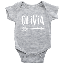 Olivia Personalized Baby Bodysuit - Name Onesie with Arrow - Baby Shower Gift - Birth Announcement Prop