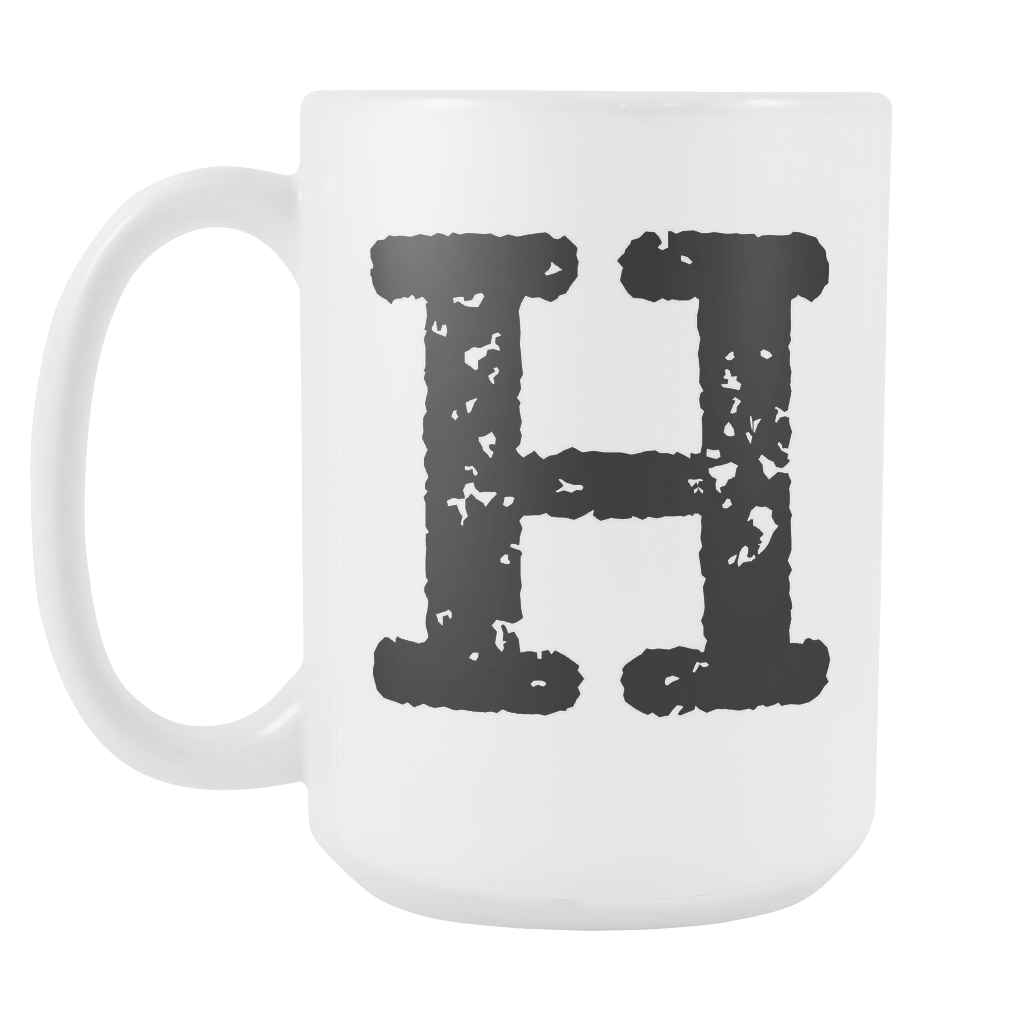 Initial Mug - Letter H - 15oz Ceramic Cup - Office Mug - Right-Handed or Left-Handed Mug