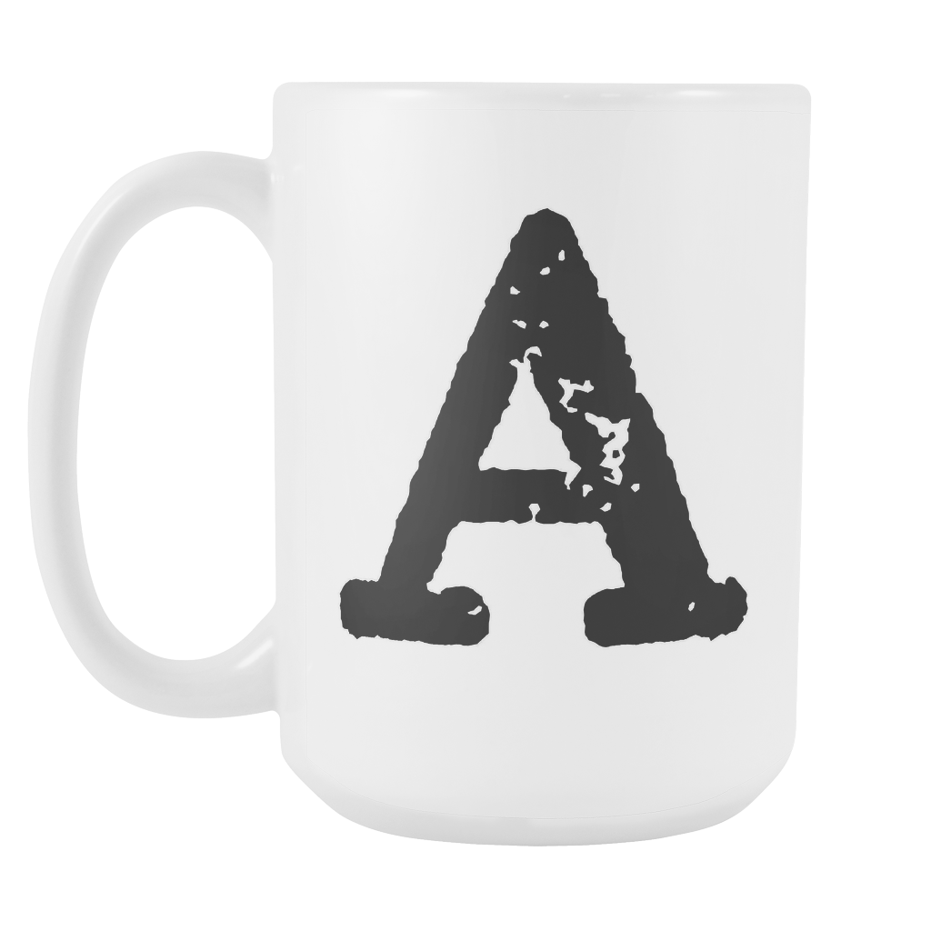 Initial Mug - Letter A - 15oz Ceramic Cup - Office Mug - Right-Handed or Left-Handed Mug