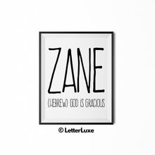 Zane Name Definition - Printable Nursery Wall Art - Baby Shower Gift - Birthday Party Decorations