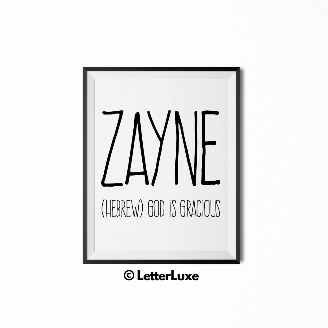 Zayne Name Meaning Art - Printable Baby Shower Decorations - Birthday Gift