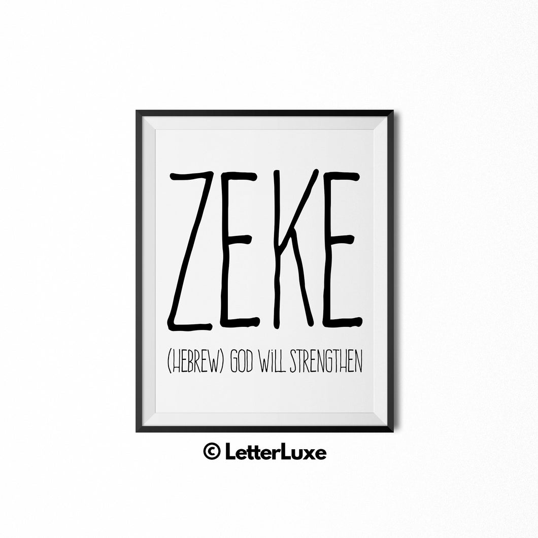 Zeke Printable Kids Gift - Baby Shower Party Decoration - Hebrew Name Meaning Art - LetterLuxe
