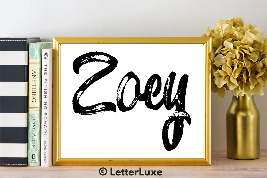 Zoey Name Art - Printable Gallery Wall - Romantic Bedroom Decor - Living Room Printable - Last Minute Gift for Mom or Girlfriend