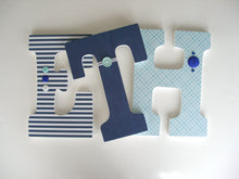 Teal, Aqua, and Navy Blue Letter Set - Nursery Decorations for Baby Boys - LetterLuxe