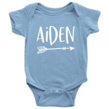 Aiden Personalized Baby Bodysuit - Name Onesie with Arrow - Baby Shower Gift - Birth Announcement Prop - LetterLuxe