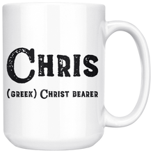 Chris Name Meaning Mug - 15oz Coffee Cup - Birthday Gift for Man - Personalized Office Mug - Husband Dad Granddad Gift Idea