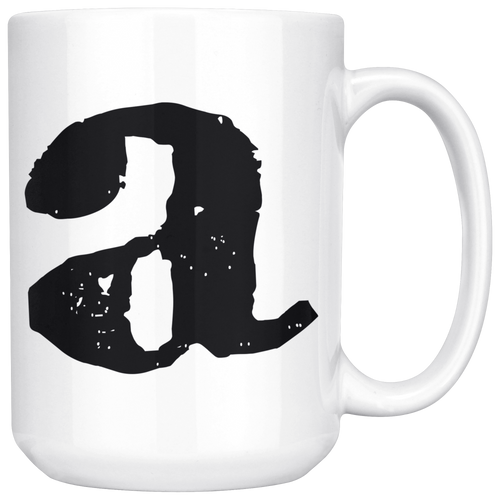 Lower Case Letter A Mug - 15oz Ceramic Cup - Groomsman Gift Mug - Right-Handed or Left-Handed Mug
