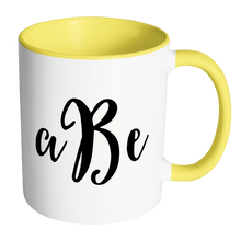 Custom Monogram Accent Mug - Personalized 11 oz Coffee Cup with Initials - Luxury Office Accessories - Choose Black, Blue, Green, Orange, Pink, Red, or Yellow - LetterLuxe