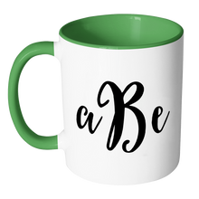 Custom Monogram Accent Mug - Personalized 11 oz Coffee Cup with Initials - Luxury Office Accessories - Choose Black, Blue, Green, Orange, Pink, Red, or Yellow