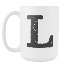 Initial Mug - Letter L - 15oz Ceramic Cup - Brother-in-Law Gift Mug - Right-Handed or Left-Handed Mug - LetterLuxe