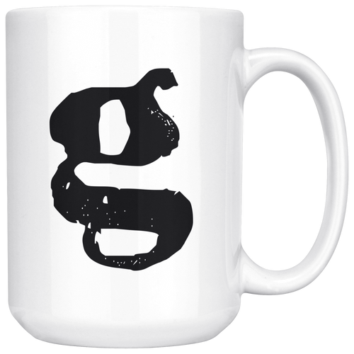 Lower Case Letter G Initial Mug - 15oz Ceramic Cup - Boss Gift Mug - Right-Handed or Left-Handed Mug - LetterLuxe