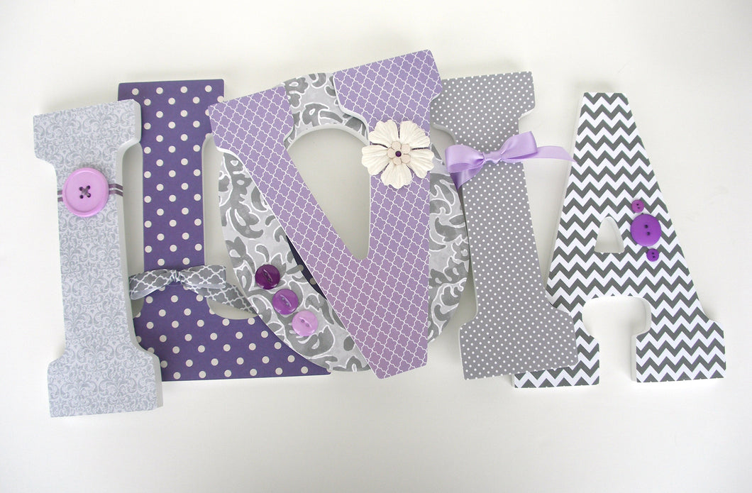 Gray & Lavender Letter Set - Baby Girl Nursery Decor - LetterLuxe - LetterLuxe