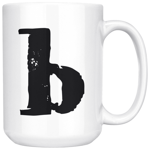 Letter B Lower Case Initial Mug - 15oz Ceramic Cup - Sister Gift Mug - Right-Handed or Left-Handed Mug