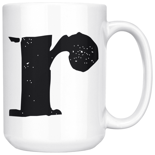 R Initial Mug - Lower Case R - 15oz Ceramic Cup - Granddad Gift Mug - Right-Handed or Left-Handed Mug - LetterLuxe
