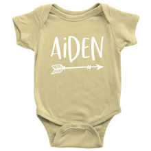 Aiden Personalized Baby Bodysuit - Name Onesie with Arrow - Baby Shower Gift - Birth Announcement Prop
