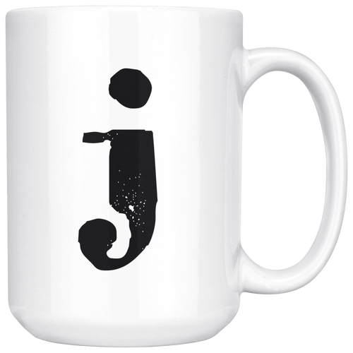 J Initial Mug - Lower Case J - 15oz Ceramic Cup - Boss Gift Mug - Right-Handed or Left-Handed Mug - LetterLuxe