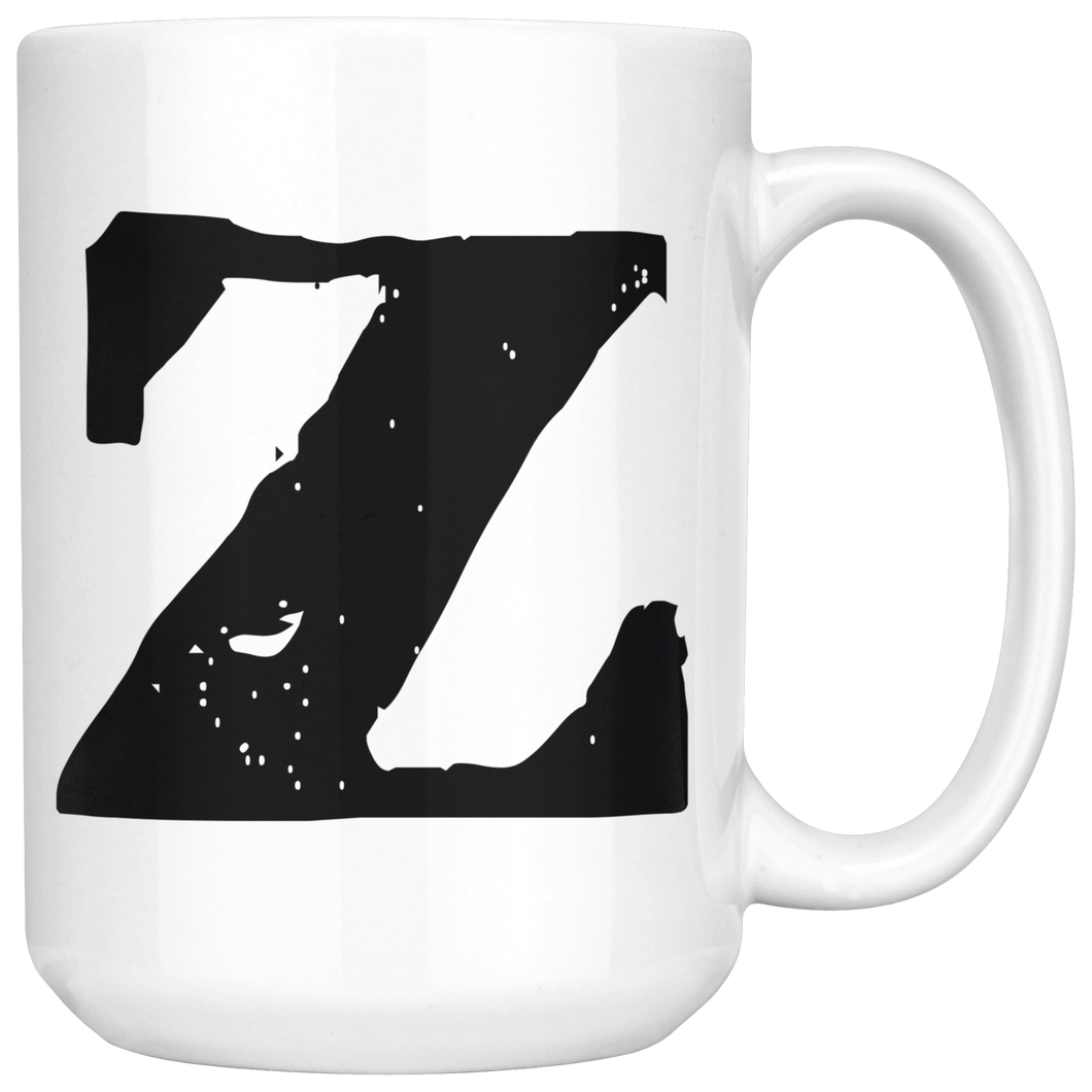 Z Initial Mug - Lower Case Z - 15oz Ceramic Cup - Groomsman Wedding Gift Mug - Right-Handed or Left-Handed Mug