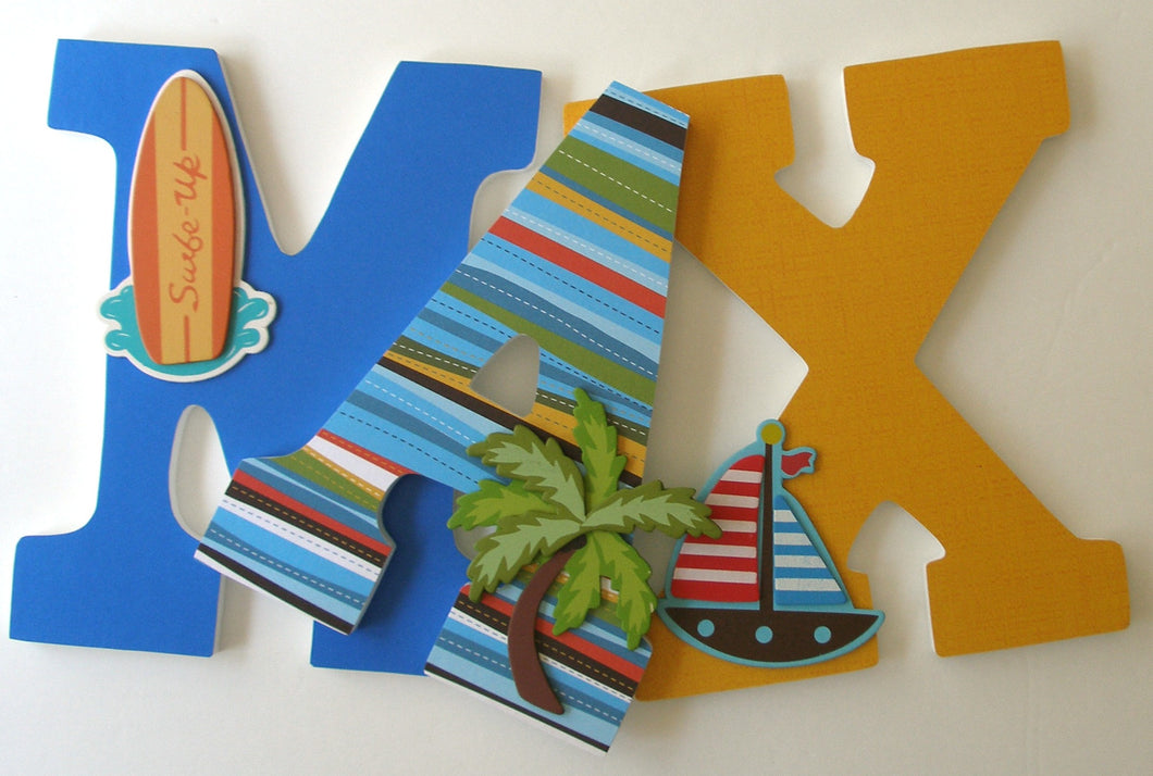 Surfer Letter Set - Beach Nursery Decor for Baby Girls & Boys - LetterLuxe - LetterLuxe