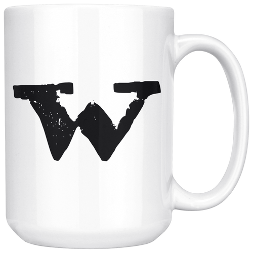 W Initial Mug - Lower Case W - 15oz Ceramic Cup - Co-Worker Gift Mug - Right-Handed or Left-Handed Mug