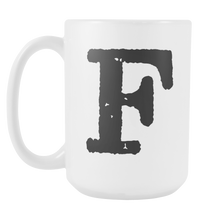 Initial Mug - Letter F - 15oz Ceramic Cup - Cousin Gift Mug - Right-Handed or Left-Handed Mug - LetterLuxe