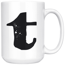T Initial Mug - Lower Case T - 15oz Ceramic Cup - Roommate Gift Mug - Right-Handed or Left-Handed Mug - LetterLuxe