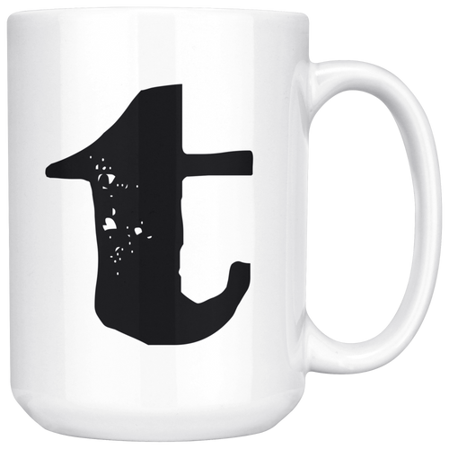 T Initial Mug - Lower Case T - 15oz Ceramic Cup - Roommate Gift Mug - Right-Handed or Left-Handed Mug
