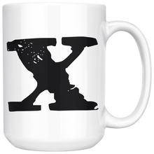 X Initial Mug - Lower Case X - 15oz Ceramic Cup - Brother Gift Mug - Right-Handed or Left-Handed Mug