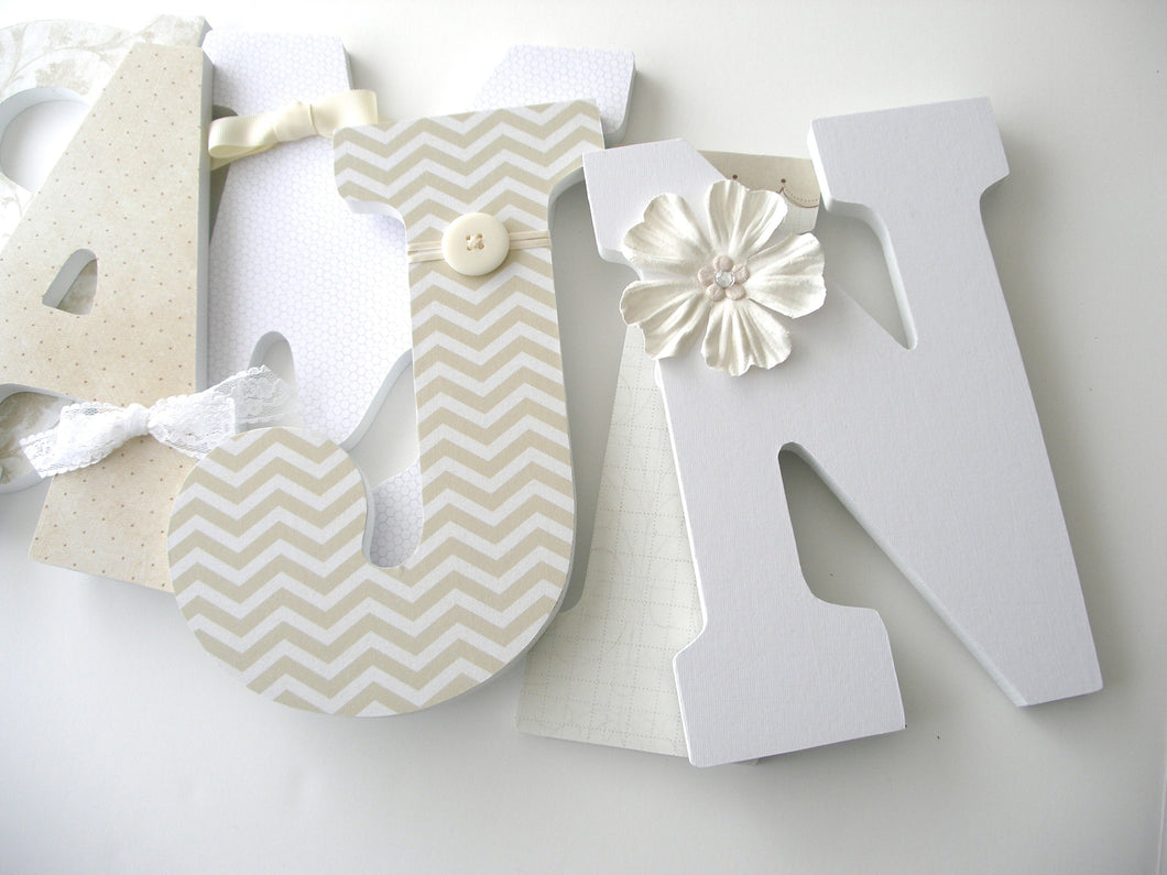 White & Cream Letter Set - Neutral Nursery Decor for Baby Girls & Boys - LetterLuxe