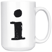 Lower Case I Initial Mug - 15oz Ceramic Cup - Dad Gift Mug - Right-Handed or Left-Handed Mug