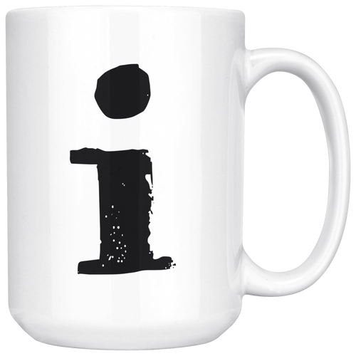 Lower Case I Initial Mug - 15oz Ceramic Cup - Dad Gift Mug - Right-Handed or Left-Handed Mug - LetterLuxe