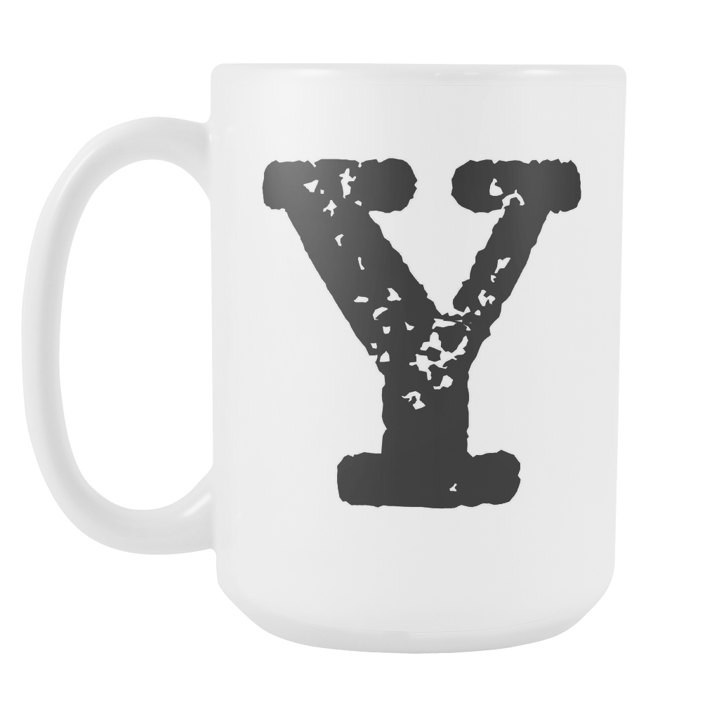 Initial Mug - Letter Y - 15oz Ceramic Cup - Sister Gift Mug - Right-Handed or Left-Handed Mug
