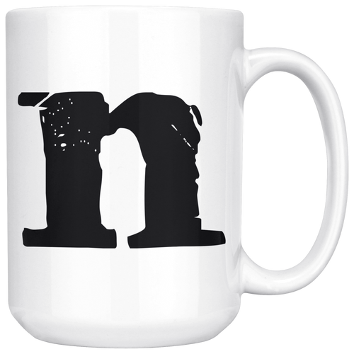 N Initial Mug - Letter N - 15oz Ceramic Cup - Brother-in-Law Gift Mug - Right-Handed or Left-Handed Mug - LetterLuxe