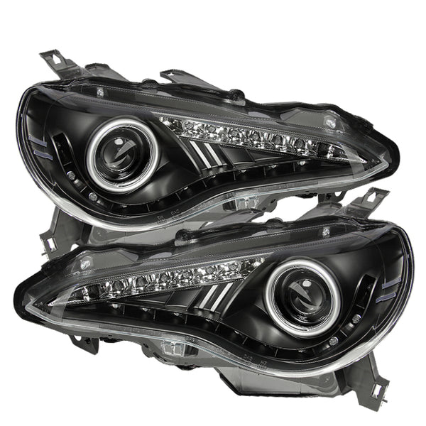 Spyder Scion FRS 12-14 Projector Headlights DRL LED Black PRO-YD-SFRS12-BK