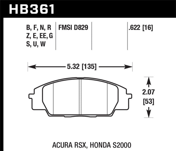 Hawk 2002-2006 Acura RSX Type-S HPS 5.0 Front Brake Pads