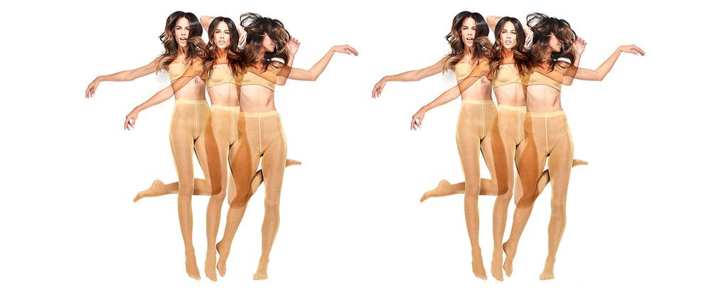 Women dancing wearing Oroblu nude pantyhose.