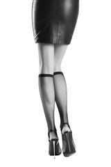 Back view of a lady's legs wearing a black leather skirt, black shoes and Oroblu Tricot knee high fishnet socks.