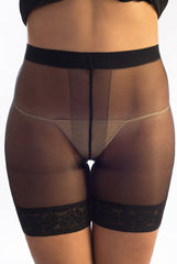 Front view of lady's abdomen in sheer anti rub shorts that prevent thigh chafing.
