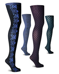 Four mannequin legs with an assortment of coloured reversible tights by Franzoni.