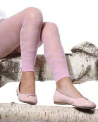 Girl's legs in pale pink lace Franzoni Aralia footless tights