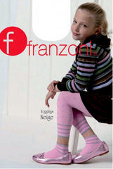 Side view of girl sitting in pink sporty leggings, pink flats and black skirt and jumper.