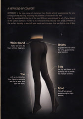 Image chart explaining features of Oroblu Different tights.