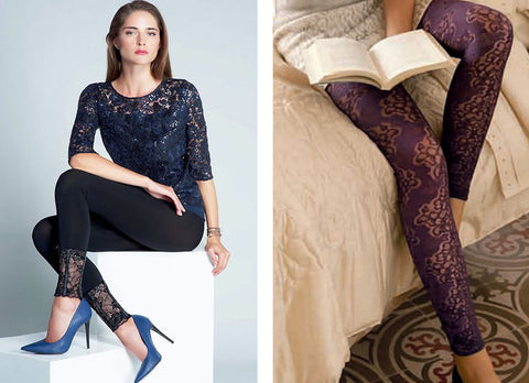 Woman sitting in black dressy leggings with lace edging and close-up of purple lace footless tights.