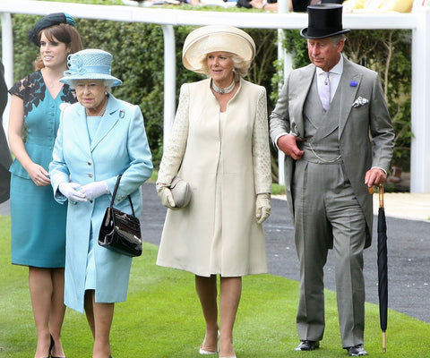 Queen Elizabeth attending Royal Ascot with other members of the Royal Family.