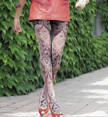 Close up Jasmine damask floral pattern sheer Oroblu tights