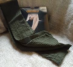 Colour sample olive green Oroblu Dune raised pattern opaque tights available in Australia.