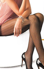 close up of lady's upper body and legs whilst sitting down. Her legs are crossed at the knees and wearing a pair of black sheer micro polk dot patterned pantyhose.