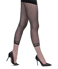 Side view of lady's legs striding showing Franzoni Fishnet capri length black Stenofila footless tights.