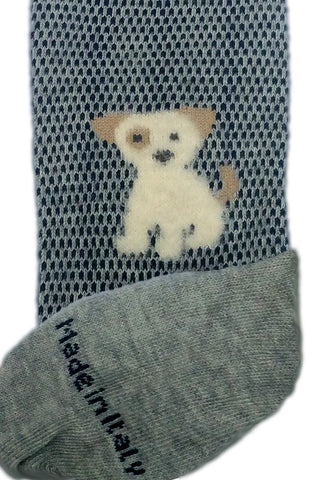 Grey puppy dog socks displaying, Made In Italy, logo.