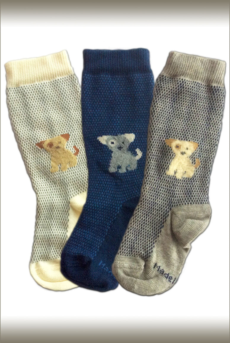 Three pairs of Coccoli, toddlers puppy dog, cotton socks.