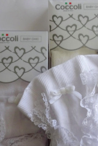Close up, lace ruffle, bow and waistband on Coccoli white Baby bum ruffle tights.